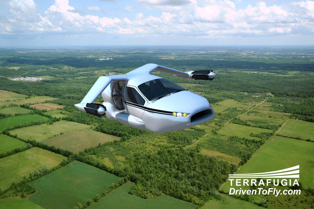 Voiture volante TF-X dans les airs