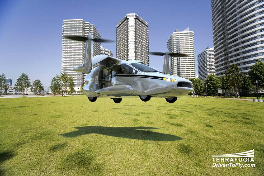 Voiture volante TF-X au décollage